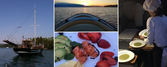 Cena in barca sul Lago di Garda